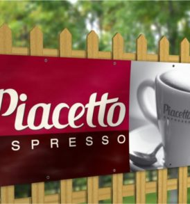 PVC vinyl banner or an espresso cup attached to a fence